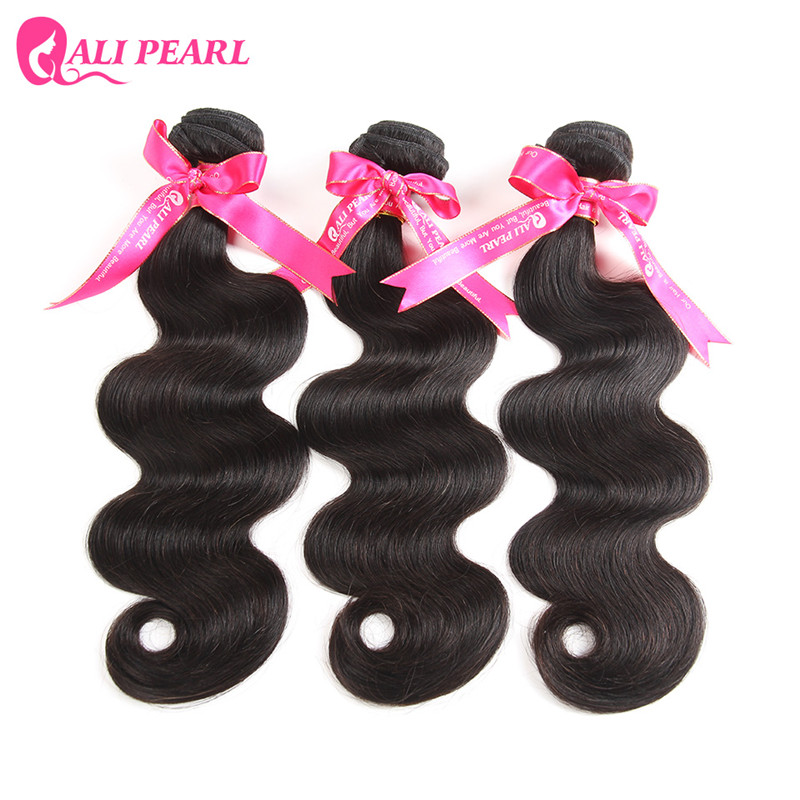 AliPearl Hair Body Wave 100% Human Hair Bundles Brazilian Hair Weave 3 Bundles Natural Black Remy Hair Extensions Free Shipping(China)