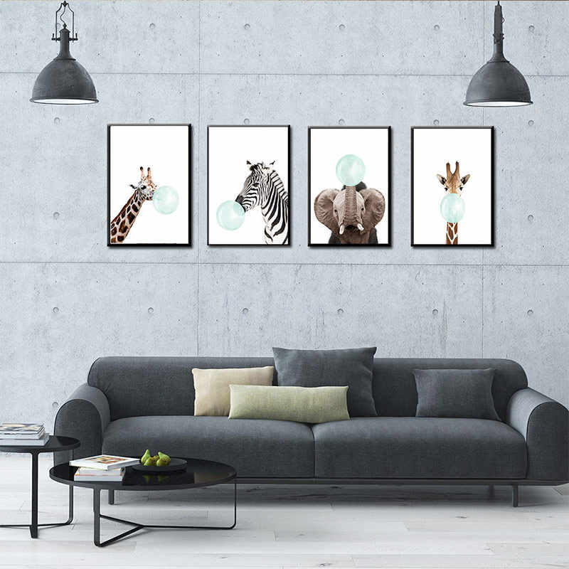 Bubble Chewing Gum Giraffe Nursery Animal Posters Zebra No Frame Art Painting Wall Art Canvas Decorative Picture 1PC