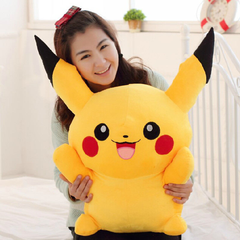 Hot Toys 60CM Huge Size Pikachu Soft Plush Toys Kawaii Pillow Cute Anime Plush Toys Cartoon Doll  Gifts For Children