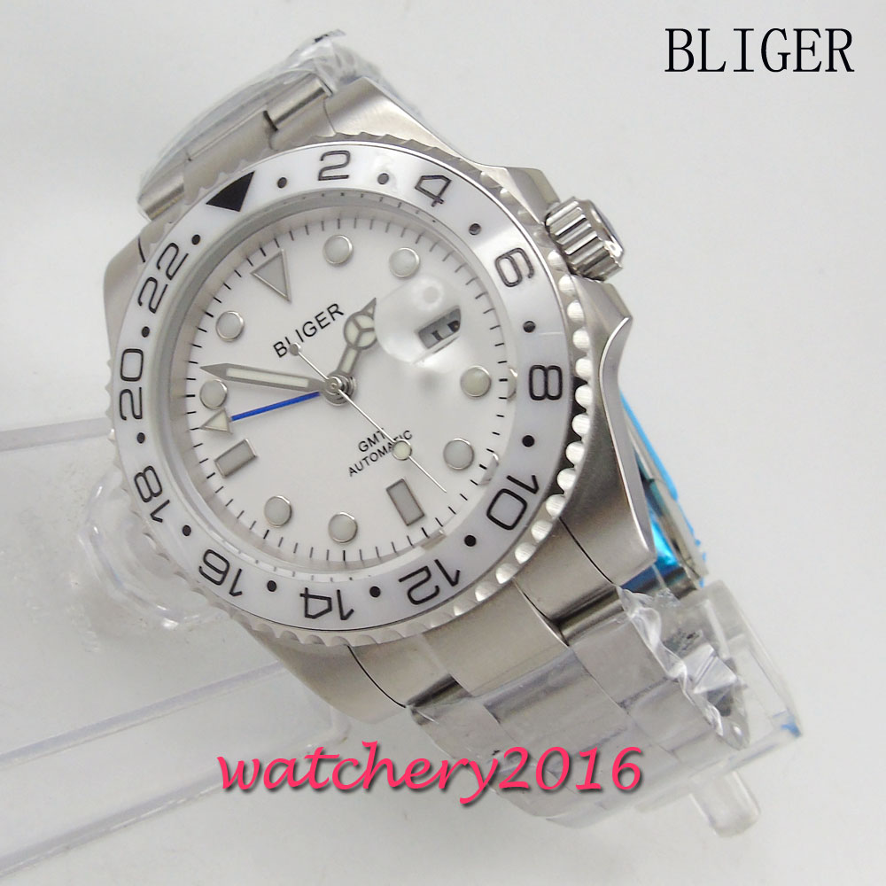 Здесь продается  New 40mm Bliger white dial ceramic bezel deployment style automatic Movement date adjust sapphire glass GMT Men