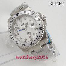New 40mm Bliger white dial ceramic bezel deployment style automatic Movement date adjust sapphire glass GMT Men's watch все цены