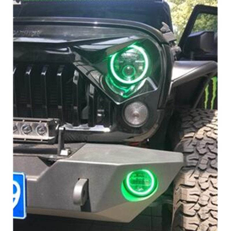 Front Driving 7'' LED Daymaker Headlight Green Angel Eyes For Jeep Wrangler JK TJ LJ H4 Headlamp  4 inch fog light with halo for jeep wrangler jk anti rust hard steel front