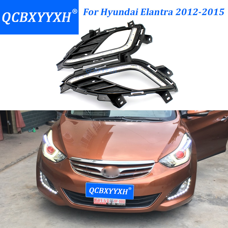 QCBXYYXH Car- Styling For Hyundai Elantra 2012-2015 LED DRL LED Fog Lamps Daytime Running Light High Brightness Guide LED DRL jgrt car styling for toyota hilux led drl for toyota hilux led fog lamps daytime running light high brightness guide led drl