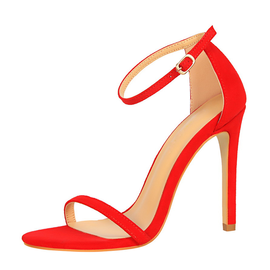 HTB1RqlObeUXBuNjt a0q6AysXXaU 2019 Women Size 40 Flock Extreme 11cm High Heels Fetish Sandals Female Gladiator Cheap Strap Shoes Lady Nude Valentine Red Pumps