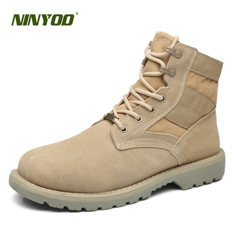 NINYOO New Unisex Autumn Boots Winter Men Ankle Shoes Leather Outdoor Martens Motorcycle Lovers Army Work Plus Size 34-47