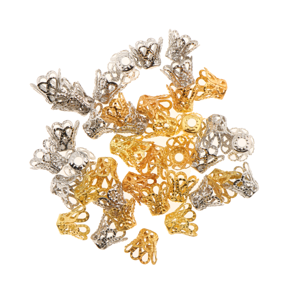40pcs Silver/ Gold Plated Filligree Flower Bead Caps For Jewelry Making End Caps