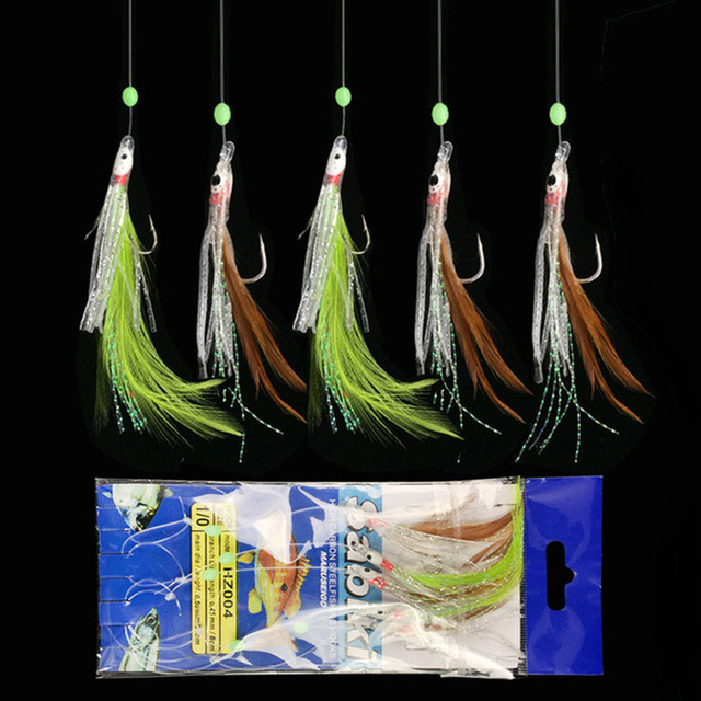 5pcs/lot ISE Sea Fishing Sabiki Rigs Carp Fishing Hook Colorful Tail String Hook Red Emulational Fish Skin Pesca Fishhooks Peche