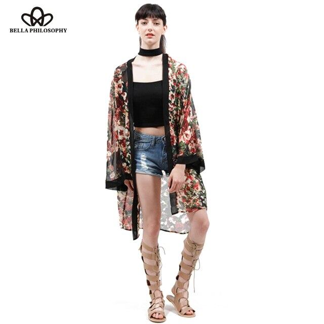 54cb982012 2018 spring summer wholesale new women black red flower floral print  chiffon long kimono cardigan jacket bikini outwear