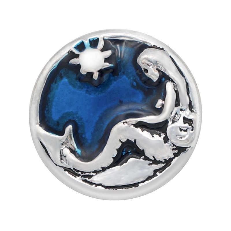 Modo caldo di vendita Rotondo Blu Della Sirena Stelle Marine Delfino Pesce in metallo 18 MILLIMETRI bottoni a pressione a scatto braccialetto dei monili del Regalo KZ1057