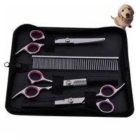 Pet suprimentos de corte de cabelo cabeleireiro tesoura de aço inoxidável tesouras de corte de cabelo máquina de pente cão cat dog beleza conjunto terno do noivo