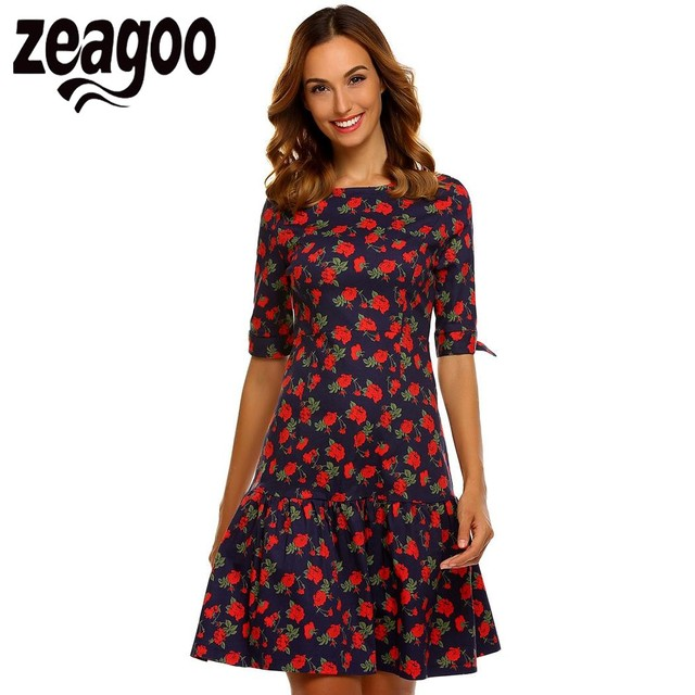 681865c434086d Zeagoo Summer Autumn Dresses Women Fashion O-Neck Half Sleeve High Waist  Floral Peplum Dress evening party Dress vestidos mujer