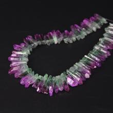15.5/strand Purple&Green Gradient Color Titanium Raw Crystal Quartz Top Drilled Point Beads,Cut Crystal Stick Pendants Jewelry