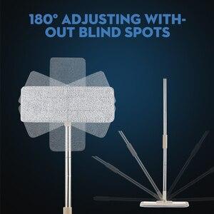 Image 4 - Squeeze Hand Free płaski Mop wiadro z uchwyt ze stali nierdzewnej Wet Dry do czyszczenia podłóg 360 obrotowe głowice z wielokrotnego użytku wkłady do mopa