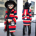 Preppy Style Kids Teenage Girls Wool Coat Single-breasted Children Warm long Jacket Winter Autumn Hooded Overcoat TZ129