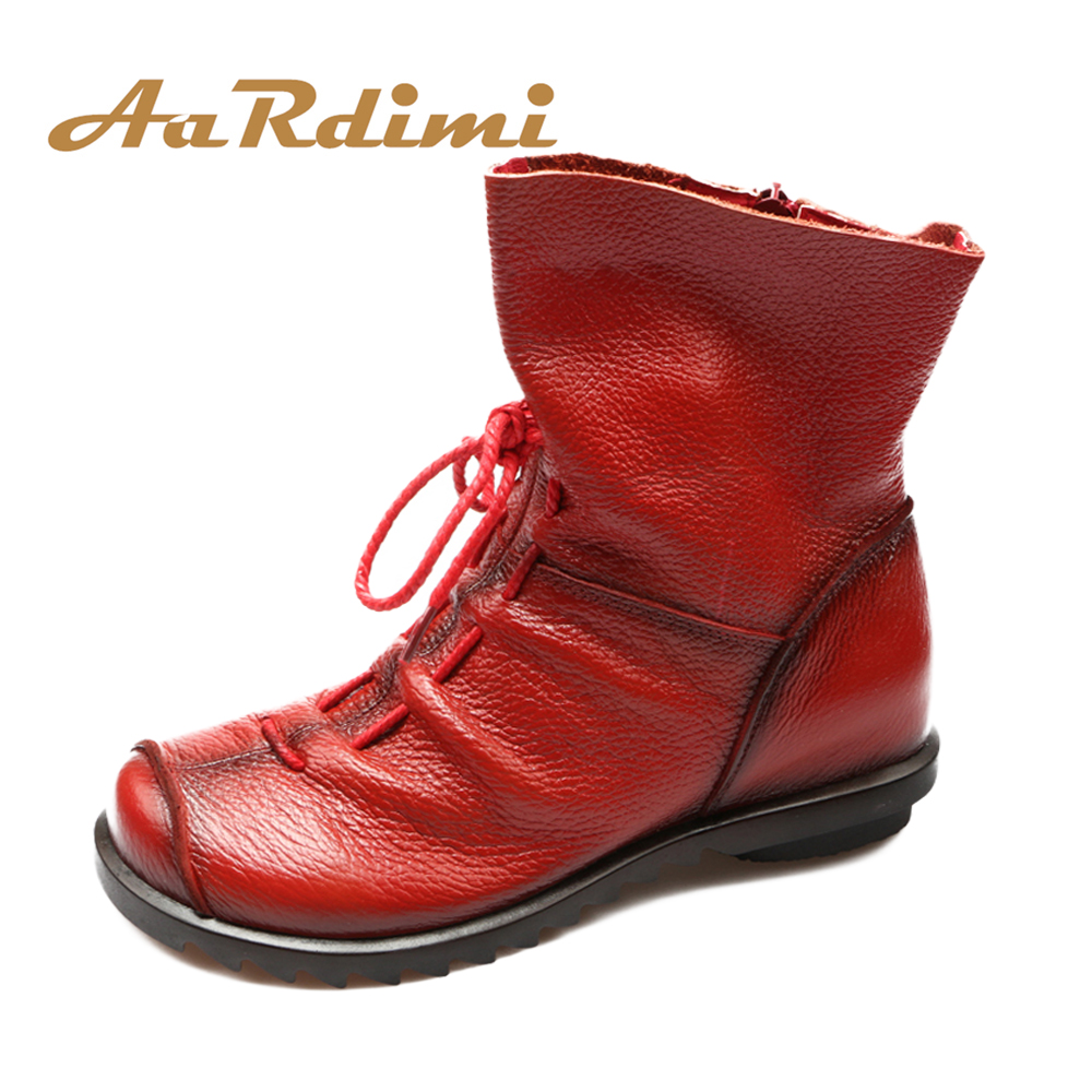 AARDIMI Handmade 100% Genuine Leather Women Ankle Boots Shoes Winter&Autumn Vintage Martins Boots Woman Flat Bootie Botas Mujer nikbea brown ankle boots for women vintage flat boots 2016 winter boots handmade autumn shoes pu botas feminina outono inverno