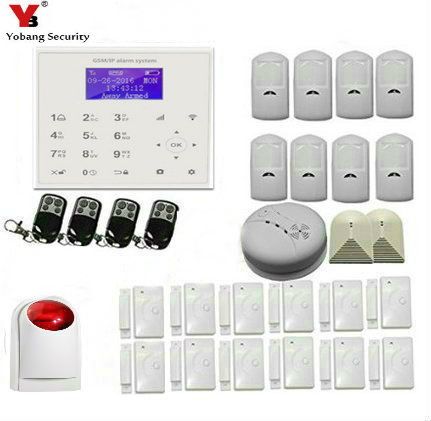 YobangSecurity Wireless GSM WIFI Home Security Burglar Alarm System Auto Dialer Android iOS APP Wireless Siren Smoke Detector wireless smoke fire detector for wireless for touch keypad panel wifi gsm home security burglar voice alarm system
