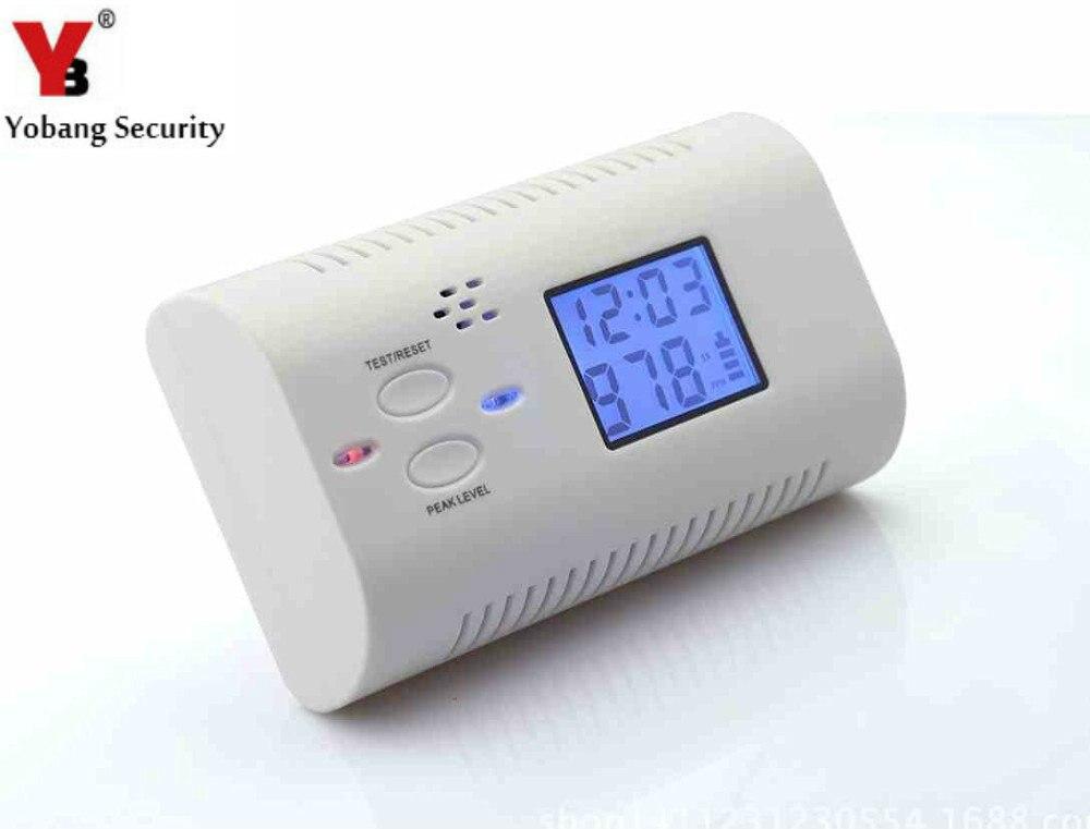 YobangSecurity Batterie Exploité Détecteur De Monoxyde De Carbone Gaz Empoisonnement Feu Avertissement Safe Alarme Écran lcd avec Horloge Voix