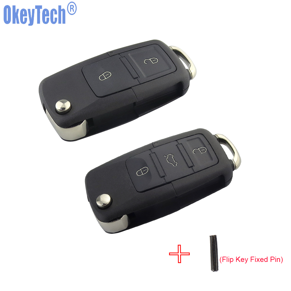 OkeyTech 2 3 Buttons Folding Flip Key Shell Car Key Replacement For VW Golf 4 5 Passat B5 B6 Polo Touran For Seat for Skoda Key