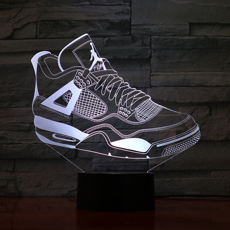 <font><b>Jordan</b></font> <font><b>Retro</b></font> <font><b>4</b></font> Shoes Basketball Lamp Bedside Decor 3D Illusion Touch Sensor Boys Kids Gift Led Night Light <font><b>Air</b></font> <font><b>Jordan</b></font> <font><b>4</b></font> Sneakers image