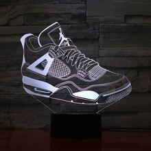 Jordan Retro 4 Shoes Basketball Lamp Bedside Decor 3D Illusion Touch Sensor Boys Kids Gift Led Night Light Air Sneakers