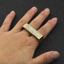 Hip Hop Mens Iced välja Bling täis Crystal Ring Double Ring roostevabast terasest kuld / hõbedane kingitus meestele Anillos Anel Masculino