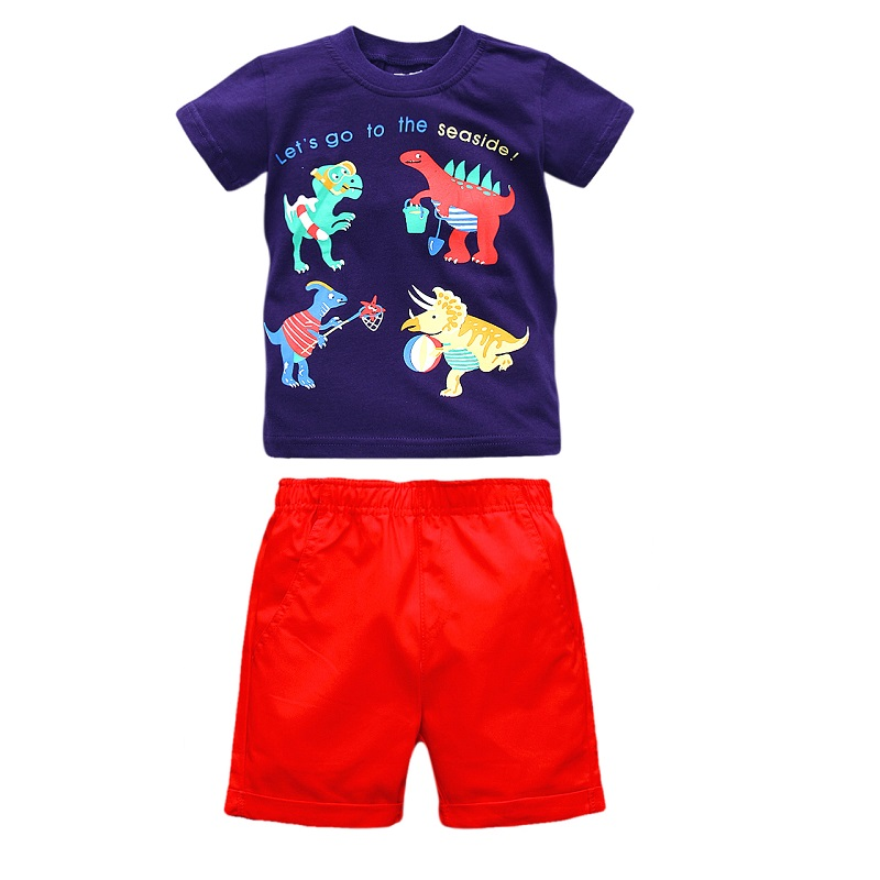 2017 New Brand Little Maven Boy Set 1-6 Years Dinosaur Printing Summer Set 100% Cotton Short T-shirt+Shorts Children Set KF219 feidu классический steampunk goggles sunglasses men women retro reflective steam punk round sun glasses unisex oculos de sol feminino