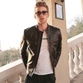 2017 New Men Leather Biker Jacket Black Stand Collar Short Casual Genuine Sheepskin Slim Fit Men Winter Coat FREE SHIPPING