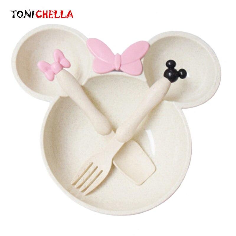 Детские Еда комплект Микки блюда пшеничной соломы посуда, тарелка чаша детей Экологичный кормления Training посуда CL5277