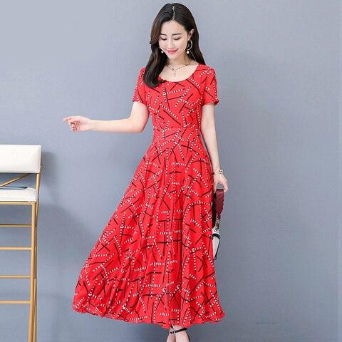 Women Short Sleeve Dresses Print Summer Dress 2019 Fashion Casual Summer Dress Karachi