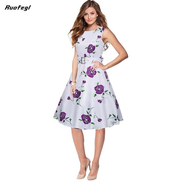 e429819cadc Ruofegl Women Dress Elegant 50s 60s Floral Print Work Business Casual vet Dresses  Fashion Party Summer Vestidos robe vintage
