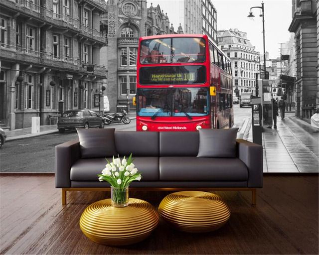 Beibehang 3D Wallpaper London Street Red Double Layer Bus Continental Backdrop Living Room Bedroom TV