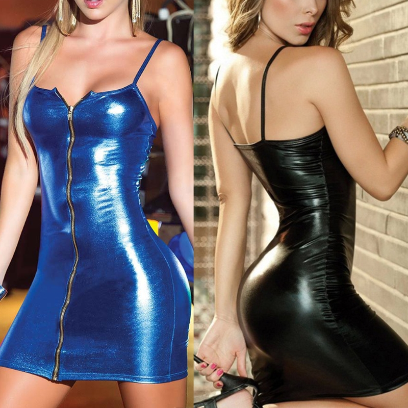 Womens Sexy Spaghetti Strap Faux Leather Bodycon Pencil Dress + T-back Set