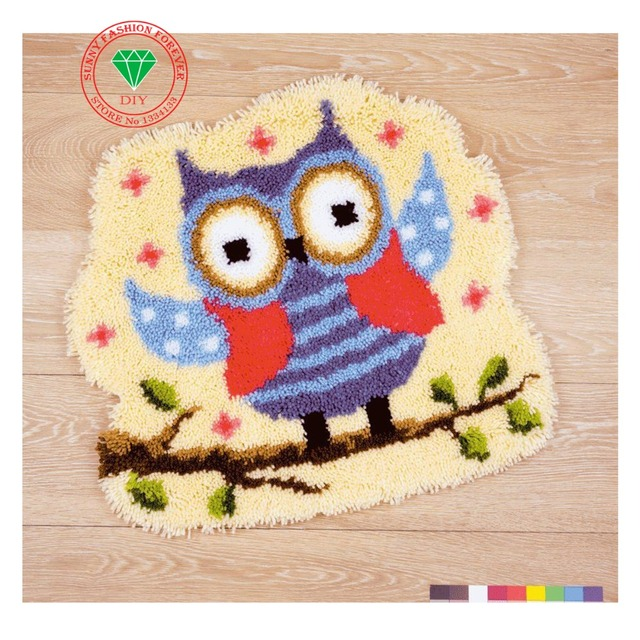 Cartoon Owl Hot Latch Hook Rug Kits Diy Needlework Unfinished