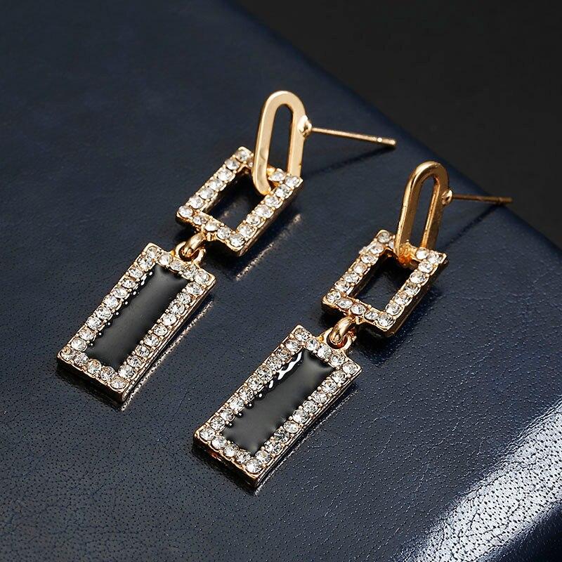 3f146feae5 US $0.85 49% OFF  2018 Korean Style Geometric Rhinestone Drop Earrings Long  Black Rectangle Dangle Earrings for Women Party Jewelry Gift-in Drop ...
