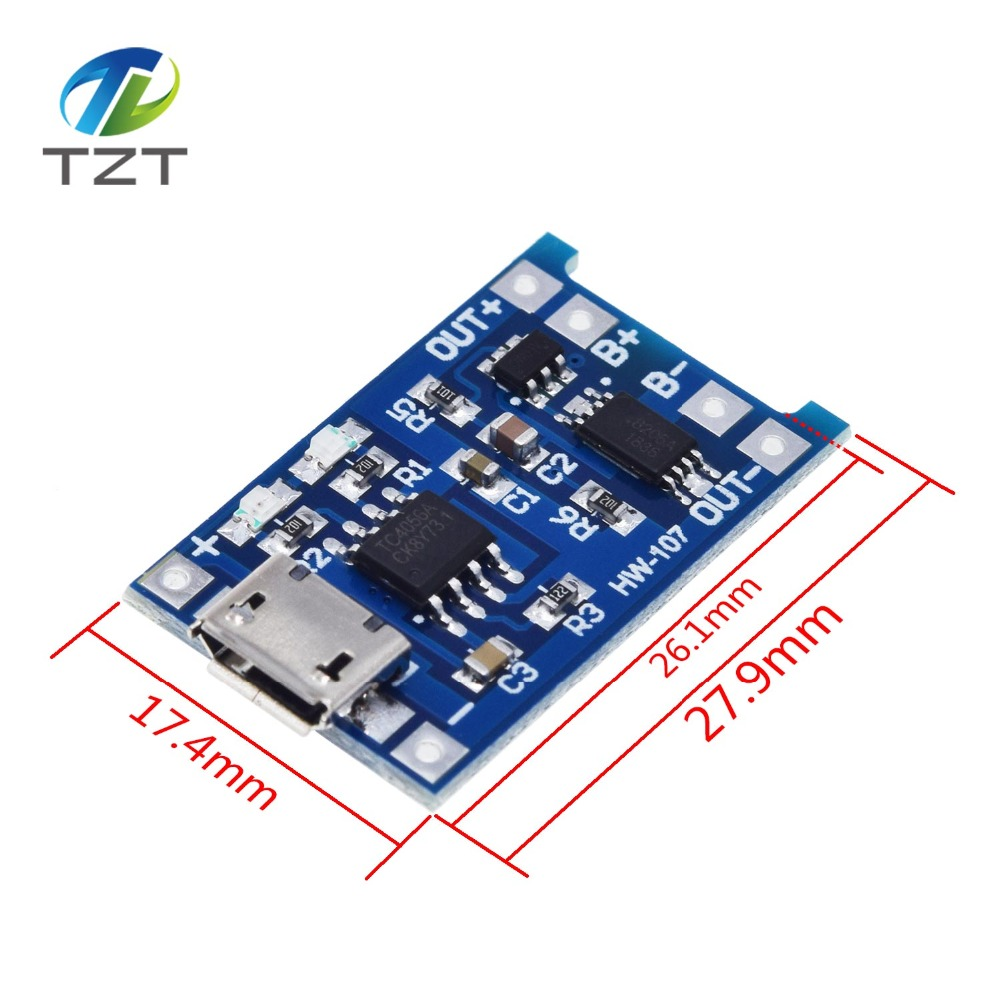 Image 2 - 10Pcs Micro USB 5V 1A 18650 TP4056 Lithium Battery Charger Module Charging Board With Protection Dual Functions 1A Li ion-in Integrated Circuits from Electronic Components & Supplies