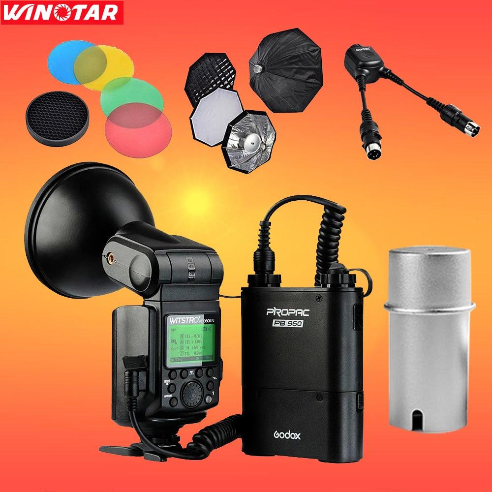 Godox AD360 AD360II-N TTL On Camera Flash Speedlite Kit + Soft Box Diffuser For Nikon DSLR Camera free tax to russia new 42cm godox ad s3 beauty dish with grid for witstro speedlite flash ad180 ad360