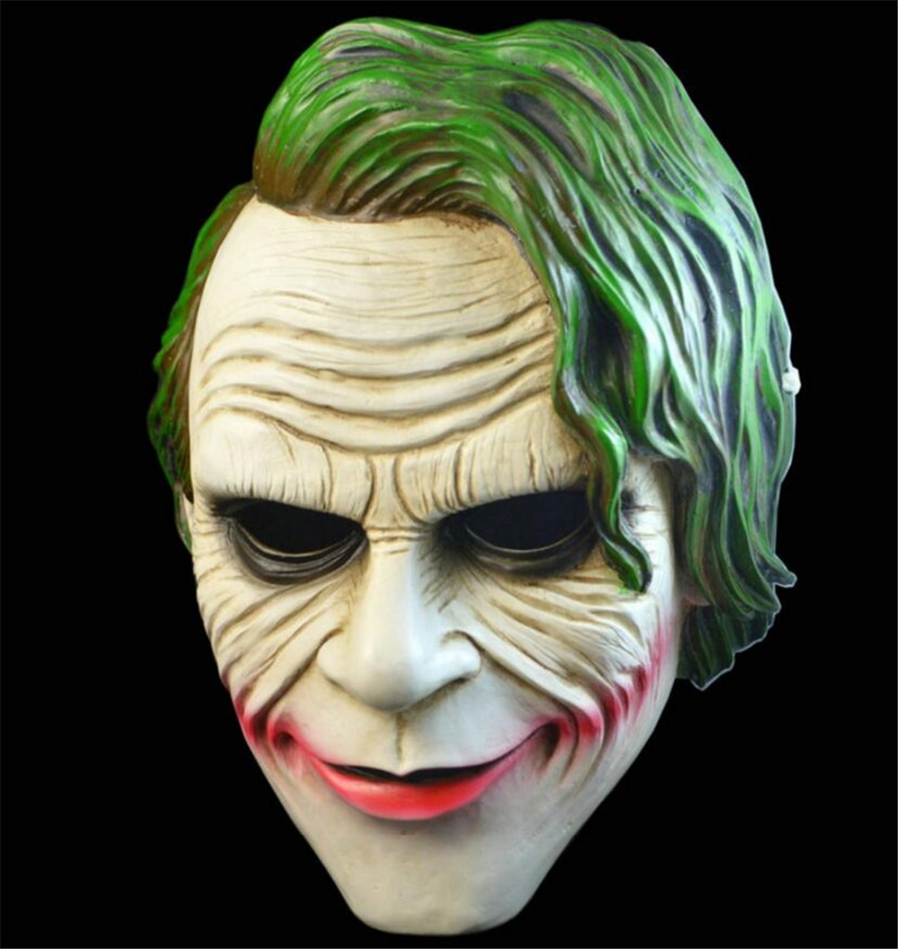 Film Batman The Dark Knight Cosplay Horreur Effrayant masque de clown avec Vert Perruque De Cheveux Halloween Latex Masque Costume Party B2241