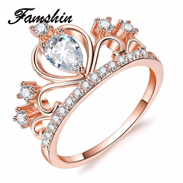 FAMSHIN Wedding Jewelry Finger Crystal Heart Crown Rings For Women New Lover Cubic Zirconia Ring Female Engagement Party Gifts