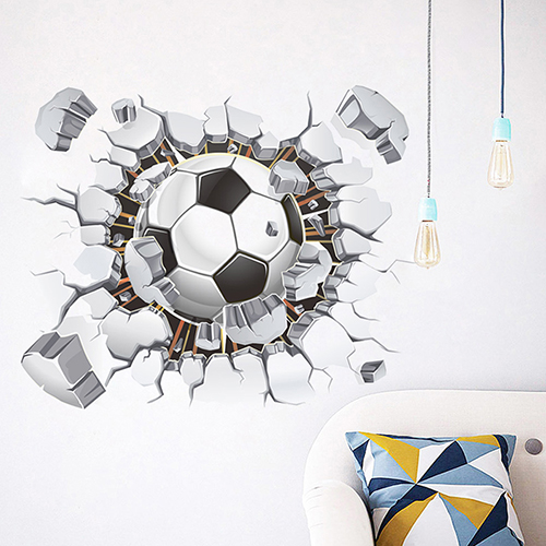 Removable 3d Football Cracked Wall Art Sticker Kid Boy Bedroom Decal