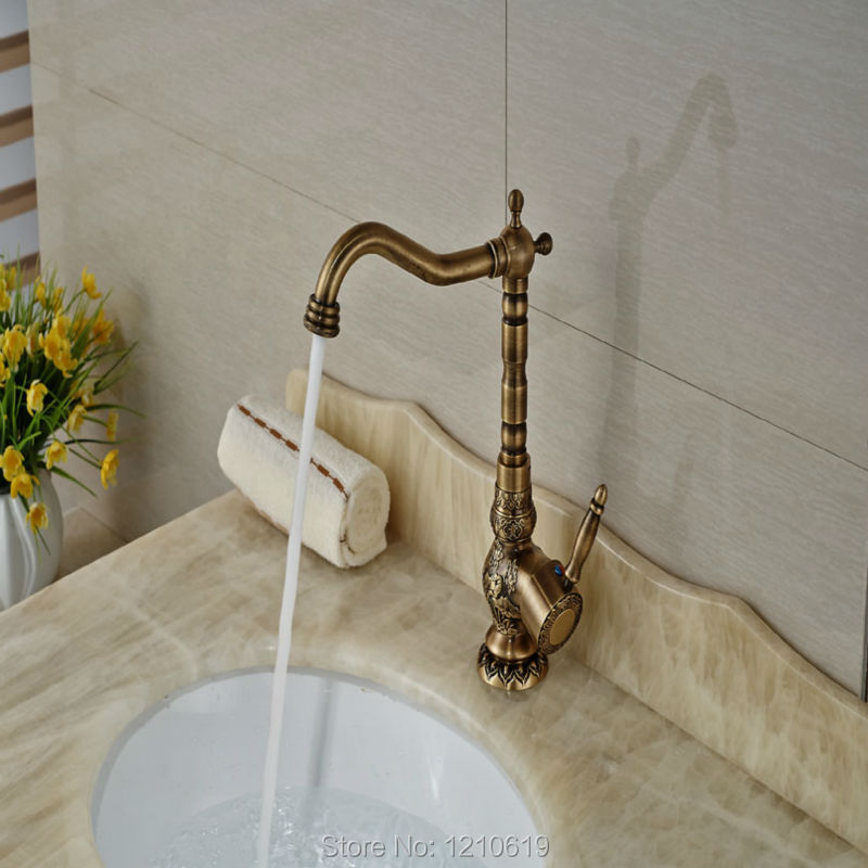 Newly  Luxury Bathroom Basin Faucet Antique Brass Vessel Sink Mixeer Faucet Tap Single Hole Single Handle square international award design brass single lever bathroom basin faucet bathroom sink faucet bathroom faucet