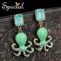 Special New Fashion Lovely Octpus Earrings Luxurious Ear Stud Rhinestones Enamel Ear Piercing Jewelry Gifts for Women ED0011