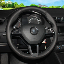 Shining wheat Black Leather Car Steering Wheel Cover for Skoda Octavia 2017 Fabia 2016-17 Rapid Spaceback 2016 Superb (3-Spoke)