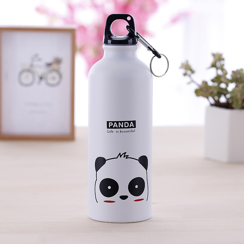 500ml sports water bottle Cute panda pattern portable drinking Cup for Outdoor Camping Climbing Running water Bottle with Handle-in Water Bottles from Home & Garden on AliExpress