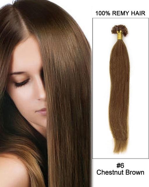 6 Chestnut Brown Straight Nail Tip U Tip 100 Remy Hair Keratin Hair