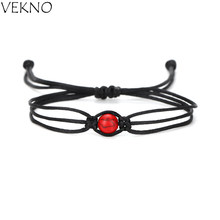 VEKNO Bohemian Vintage Round Ball Beads Bracelets Handmade Black String Adjustable Black Thread Bracelets Fashion Couple Gifts(China)