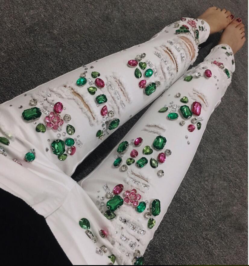 Skinny Blanco Tamaño Rebordear Denim ¡más Perlas Stretch 30 Jeans White Moda Lápiz Ripped Mujeres 25 wZwzIqA
