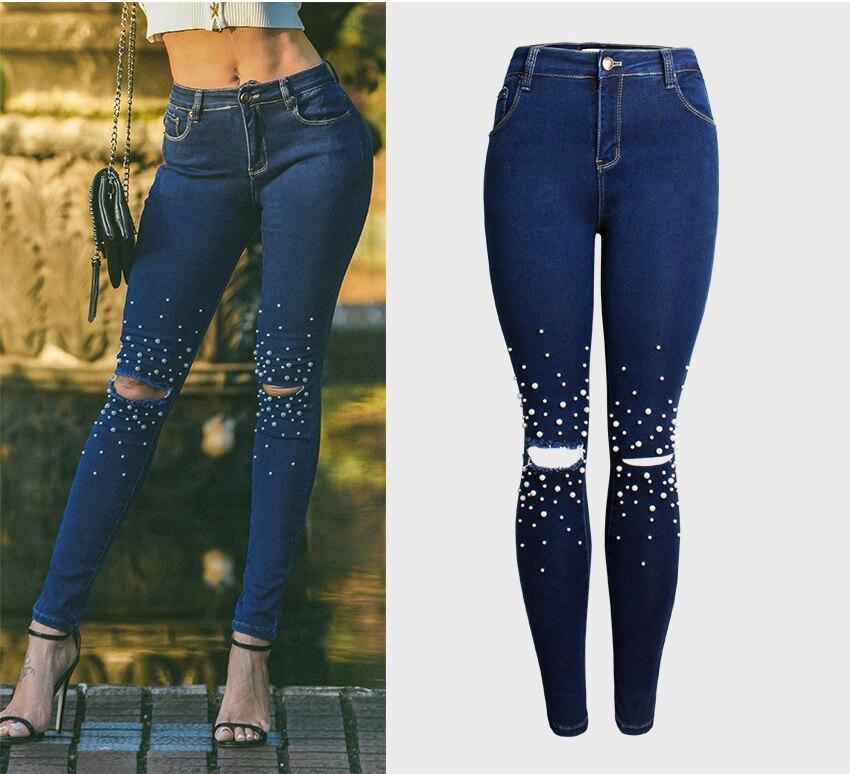 Jean Slim pour femme Skinny taille haute Jeans perle perlée Denim crayon pantalon trou déchiré femmes bleu Jeans pantalon Calca Feminina