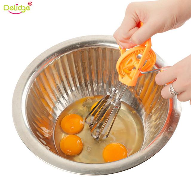 Delidge 1 Pc Double Head Egg Beater Plastic+Stainless Steel Manual Rotate  Fast Egg Stirrer