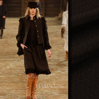 Black Color Pure Wool Fabric