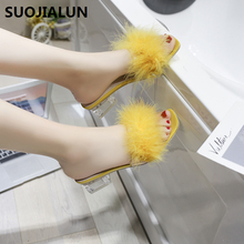 2019 New Summer Women Sandals Clear Ladies Slippers Transparent Square Sandals Slides Slippers Metal Buckle Peep Toe Flip Flops artdiya summer original new square toe slippers low heels retro genuine leather sandals buckle peep toe women slippers 7552